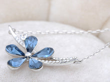 Load image into Gallery viewer, Swarovski Crystal Montana Blue Asymmetrical Solo Fragile Daisy Element Necklace