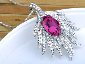 Fuchsia Rare Sparkle Radiant Phoenix Feather Element Necklace