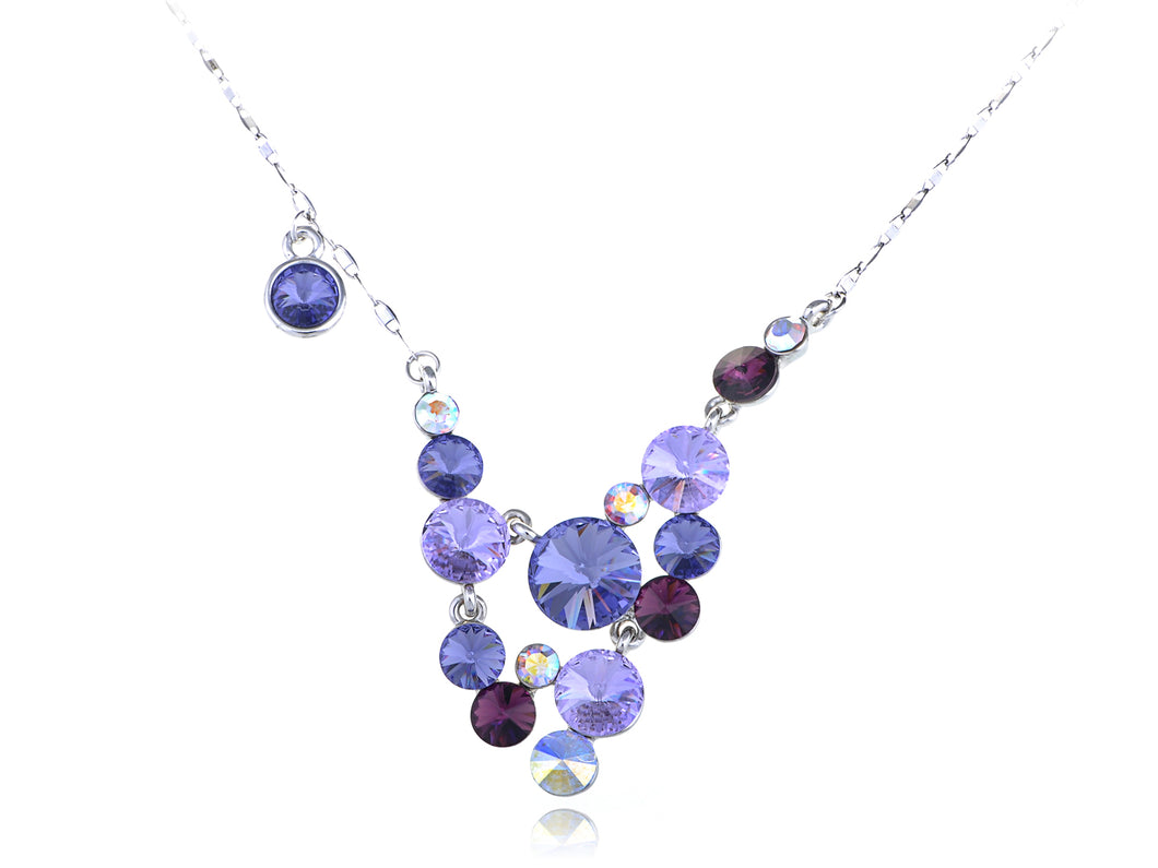 Swarovski Crystal Amethyst Gradient Scatter Grape Cluster Element Necklace