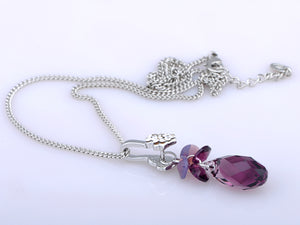 Fuchsia Heart And Budding Clustered Plums Element Necklace