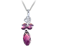 Load image into Gallery viewer, Fuchsia Heart And Budding Clustered Plums Element Necklace