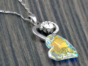 Swarovski Crystal Steel Ab Double Soulful Heart Shadow Element Necklace