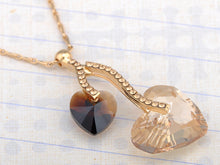 Load image into Gallery viewer, Swarovski Crystal Light Peach Smoked Topaz Double Hearts Fruit Element Necklace