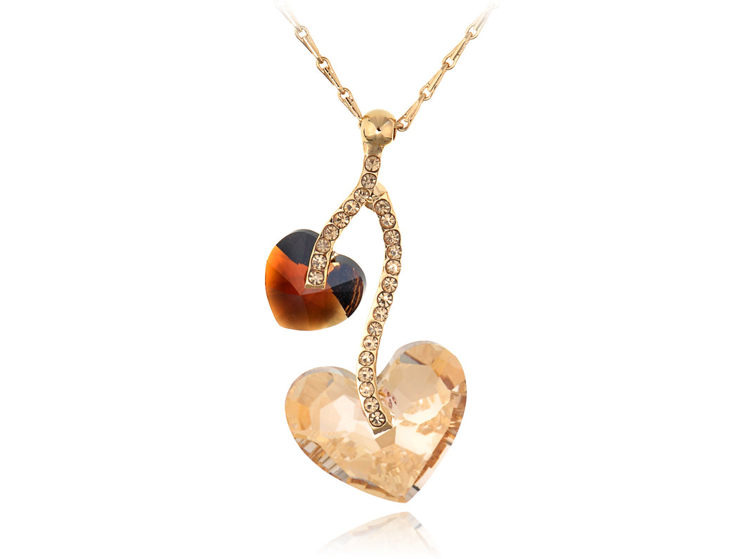 Swarovski Crystal Light Peach Smoked Topaz Double Hearts Fruit Element Necklace