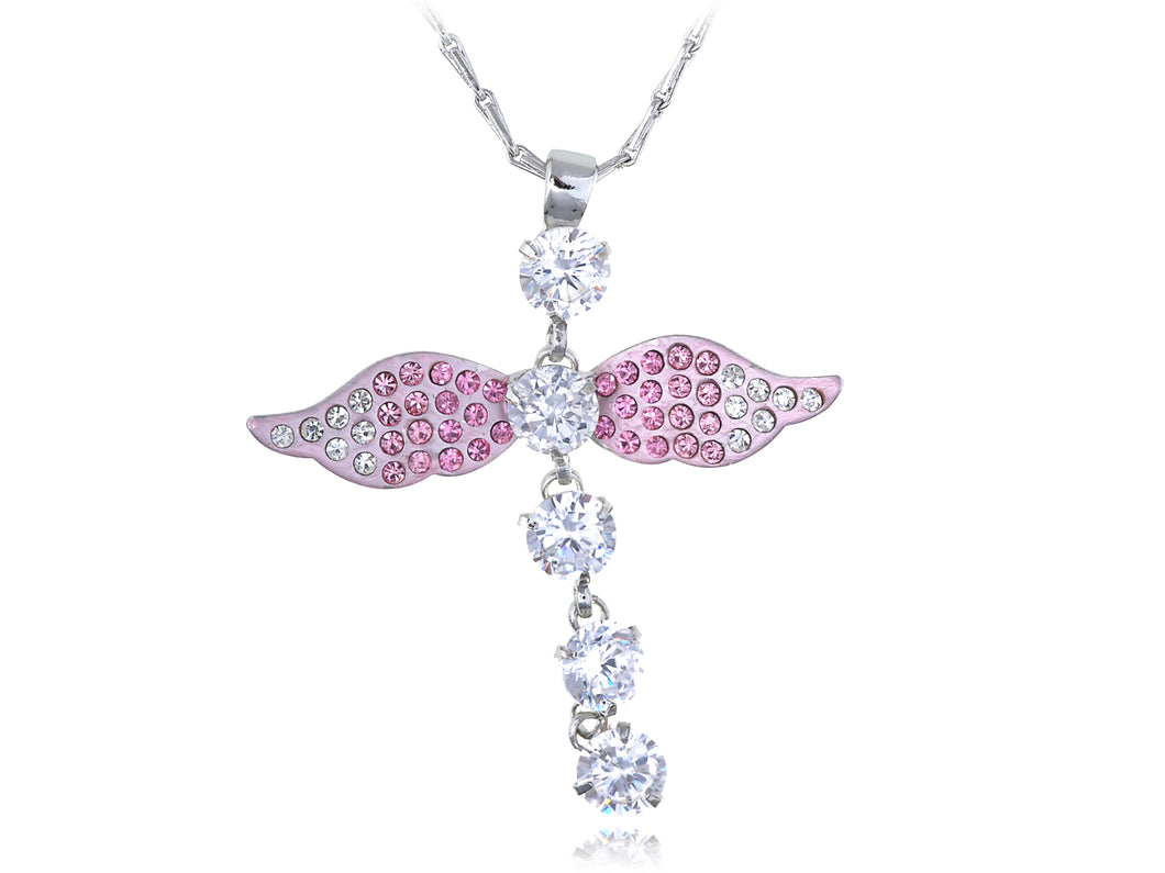 Light Rose Ange Dragonfly Sprite Fairy Element Necklace