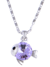 Load image into Gallery viewer, Swarovski Crystal Tanzanite Expressive Nemo Like Baby Fish Element Necklace