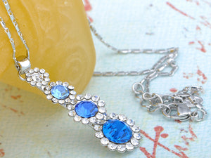 Swarovski Crystal Sapphire Gradient Stack Growing Daisy Dangle Element Necklace
