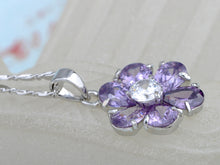 Load image into Gallery viewer, Swarovski Crystal Tanzanite Light Purple Rounded Petal Thorn Element Necklace
