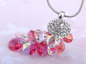 Swarovski Crystal Rose Studded Pinecone Like Clustered Dangling Element Necklace