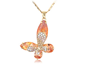 Orange Asymmetrical Butterfly Sharp Big Wing Element Necklace