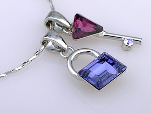 Swarovski Crystal Sapphire Lock Amethyst Key Pair Safeguard Element Necklace