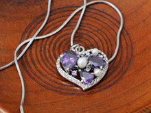 Load image into Gallery viewer, Swarovski Crystal Tanzanite Pearl Heart Outline Mosaic Element Necklace