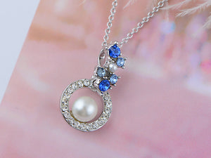 Swarovski Crystal Sapphire Floral Bud Cluster Framed Pearl Element Necklace