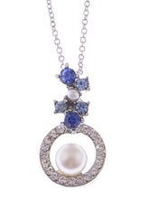 Load image into Gallery viewer, Swarovski Crystal Sapphire Floral Bud Cluster Framed Pearl Element Necklace