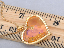 Load image into Gallery viewer, Swarovski Crystal Fire Opal Heart Filled Vintage Studded Element Necklace
