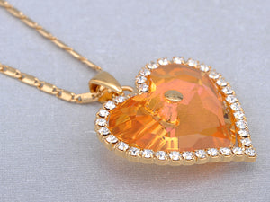 Swarovski Crystal Fire Opal Heart Filled Vintage Studded Element Necklace