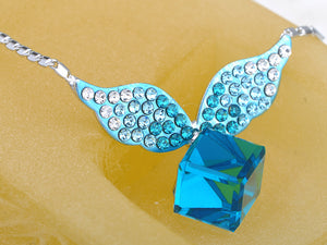 Indicolite Blue Cube Winged Pixie Spirit Element Necklace