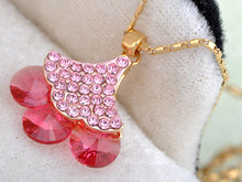 Load image into Gallery viewer, Rose Triangle Mid Blossoming Cherry Leaves Element Necklace