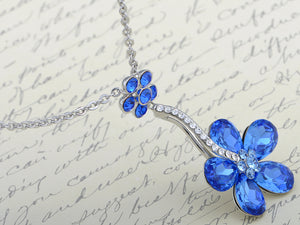 Swarovski Crystal Sapphire Solo Daisy Dangling Big Flower Element Necklace