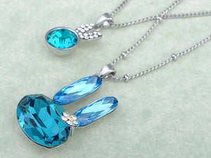 Swarovski Crystal Light Blue Multi Layered Bunny Rabbit Pendant Necklace