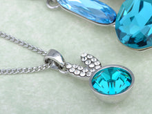 Load image into Gallery viewer, Swarovski Crystal Light Blue Multi Layered Bunny Rabbit Pendant Necklace