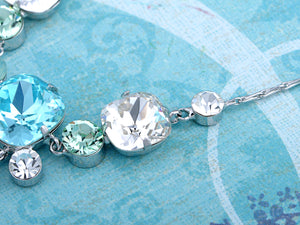 Swarovski Crystal Aqua Gradient Rectangle Bunch Element Earring Necklace Set