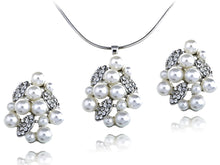 Load image into Gallery viewer, Swarovski Crystal Pearl Cluster Organic Leafy Element Earring Necklace Set