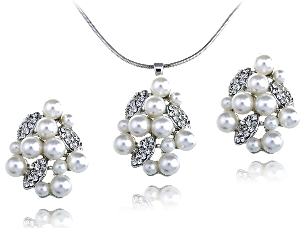 Swarovski Crystal Pearl Cluster Organic Leafy Element Earring Necklace Set