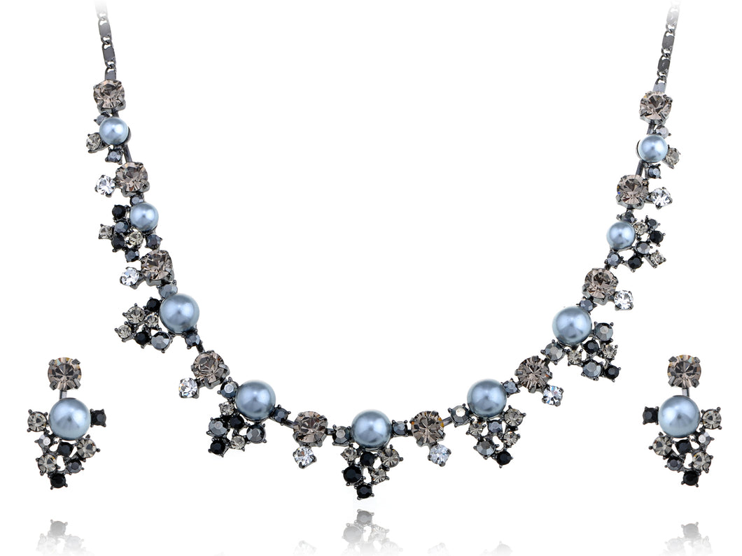 Swarovski Crystal Faux Pearls Necklace Earrings Set