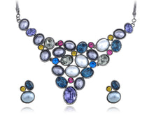 Load image into Gallery viewer, Pearl Colorful Pebble Bib Element Earring Necklace Set