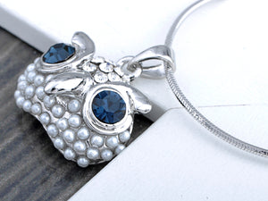 Swarovski Crystal Pearl Blue Eyed Curious Owl Element Earring Necklace Set