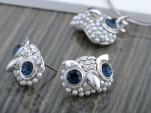 Load image into Gallery viewer, Swarovski Crystal Pearl Blue Eyed Curious Owl Element Earring Necklace Set
