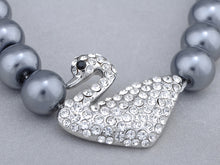 Load image into Gallery viewer, Swarovski Crystal Black Pearl Pure Swan Family Element Earring Necklace Set
