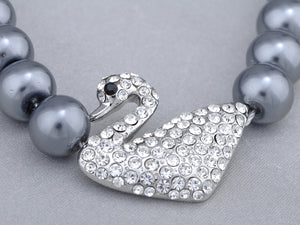Swarovski Crystal Black Pearl Pure Swan Family Element Earring Necklace Set
