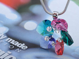 Swarovski Crystal Multicoloured Garden Heart Shaped Petals Element Necklace
