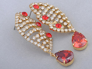 Swarovski Crystal Ruby Red Organic Helix Carrier Element Earring Necklace Set
