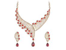 Load image into Gallery viewer, Swarovski Crystal Ruby Red Organic Helix Carrier Element Earring Necklace Set