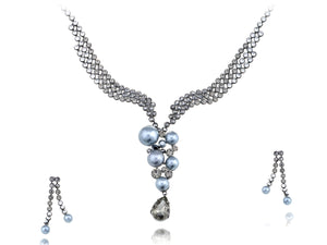 Swarovski Crystal Cool Pearl Classic Trickling Element Earring Necklace Set