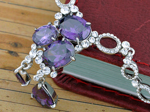 Dark Amethyst Charm Regal Tears Element Earring Necklace Set