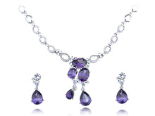 Load image into Gallery viewer, Dark Amethyst Charm Regal Tears Element Earring Necklace Set