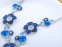 Load image into Gallery viewer, Sapphire Daisy Antique Element Earring Necklace Set
