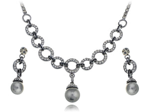 Swarovski Crystal Solo Pearl Chain Element Earring Necklace Set