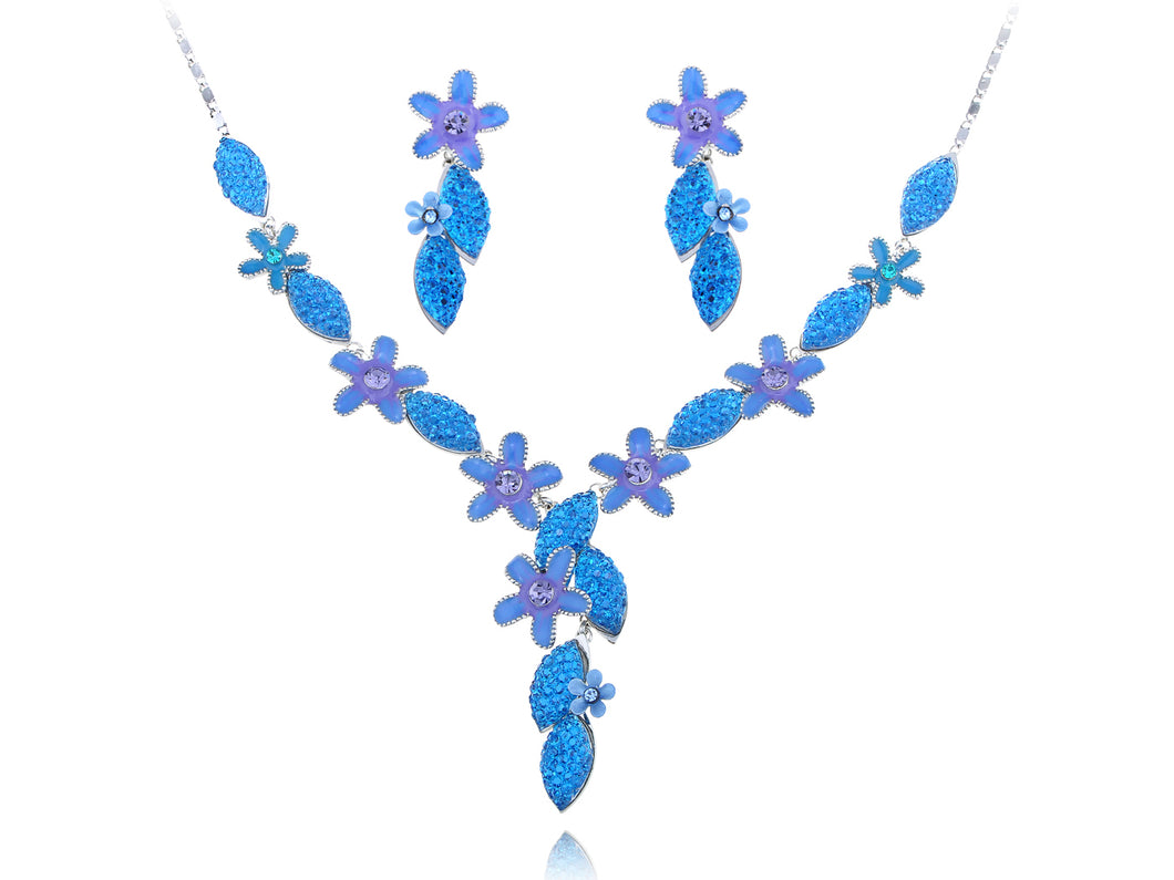 Swarovski Crystal Sapphire Ocean Floral Garden Element Earring Necklace Set
