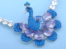 Load image into Gallery viewer, Swarovski Crystal Sapphire Purple Attentive Peacock Element Earring Necklace Set