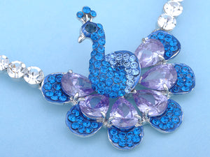 Swarovski Crystal Sapphire Purple Attentive Peacock Element Earring Necklace Set