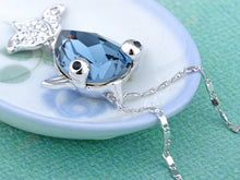 Load image into Gallery viewer, Swarovski Crystal Dark Sapphire Bulging Eyes Fish Element Necklace