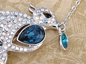 Swarovski Crystal Sapphire Leaf Carrying Sparrow Element Necklace