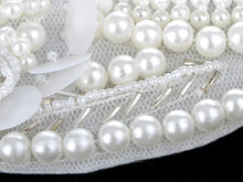 Load image into Gallery viewer, Bridal Collection White Pearl Bib Necklace W Mini Flower Accents