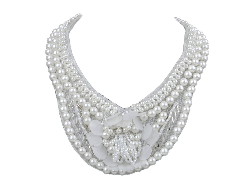 Bridal Collection White Pearl Bib Necklace W Mini Flower Accents