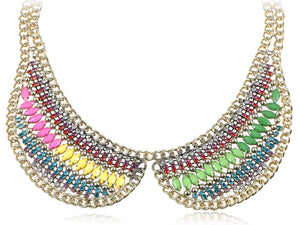 Colorful Bead Bib Collar Choker Chain Statement Necklace